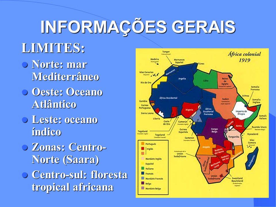 INFORMAÇÕES GERAIS LIMITES: Norte: mar Mediterrâneo Norte: mar Mediterrâneo Oeste: Oceano Atlântico Oeste: Oceano Atlântico Leste: oceano índico Leste: oceano índico Zonas: Centro- Norte (Saara) Zonas: Centro- Norte (Saara) Centro-sul: floresta tropical africana Centro-sul: floresta tropical africana