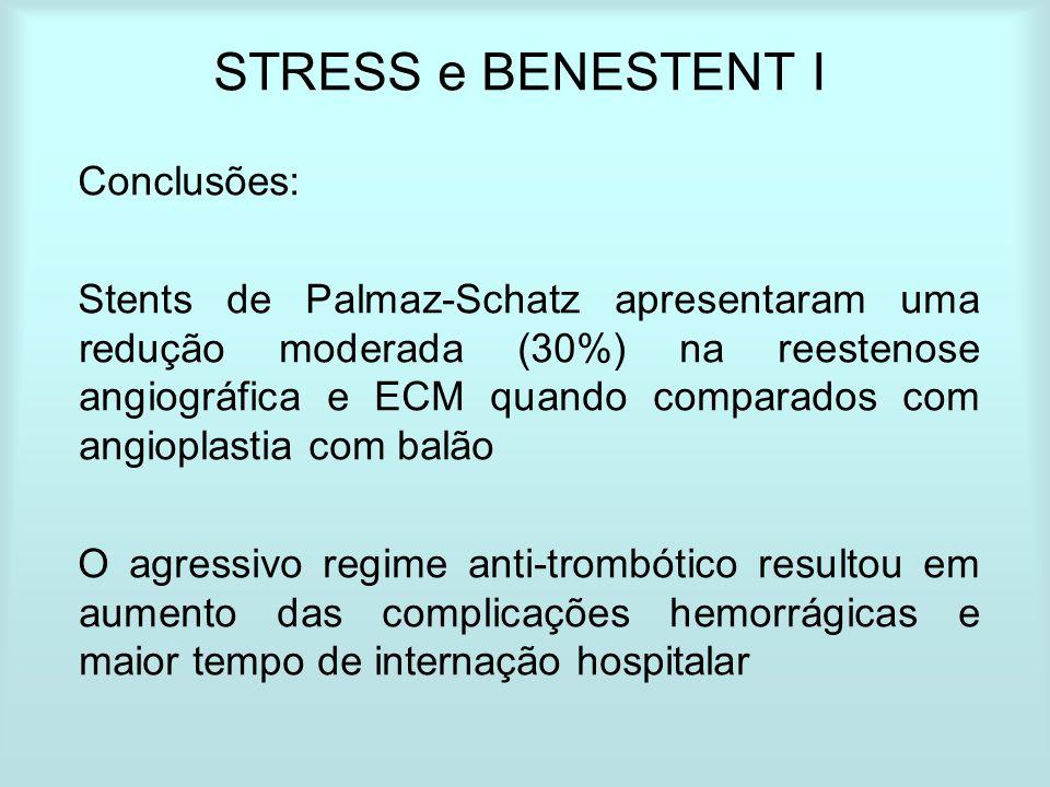 STRESS e BENESTENT I Conclusões: Stents de Palmaz-Schatz apresentaram uma redução moderada (30%) na reestenose angiográfica e ECM quando comparados co
