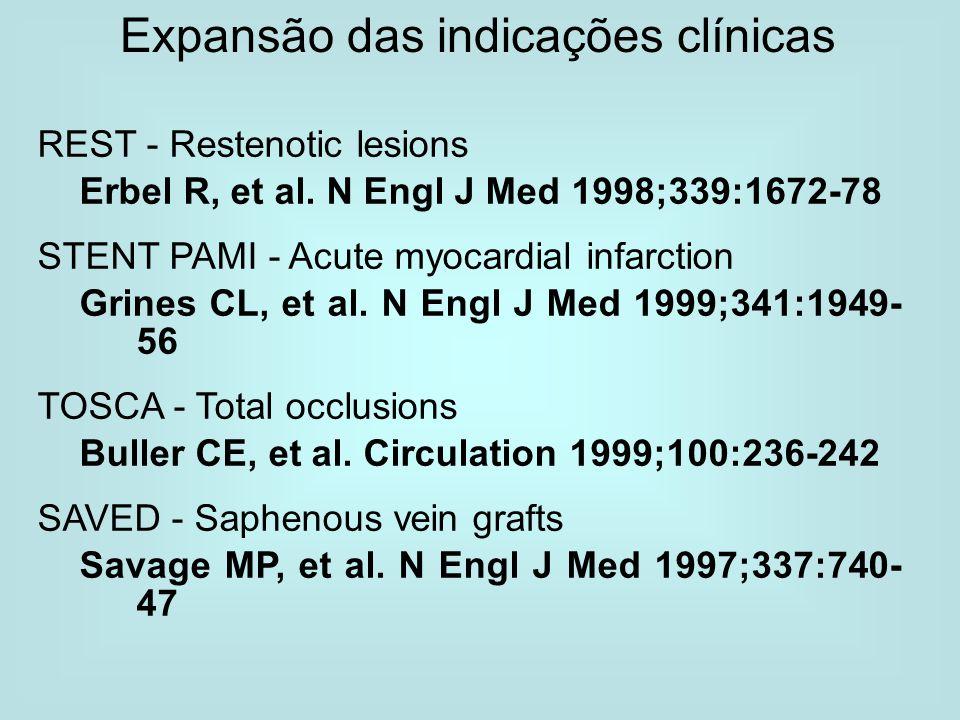 Expansão das indicações clínicas REST - Restenotic lesions Erbel R, et al. N Engl J Med 1998;339:1672-78 STENT PAMI - Acute myocardial infarction Grin