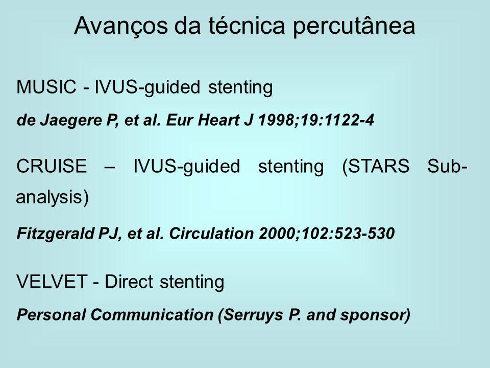 Avanços da técnica percutânea MUSIC - IVUS-guided stenting de Jaegere P, et al. Eur Heart J 1998;19:1122-4 CRUISE – IVUS-guided stenting (STARS Sub- a