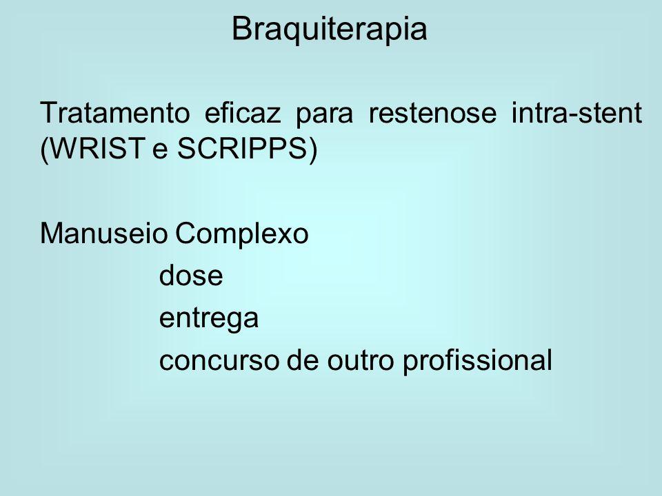 Braquiterapia Tratamento eficaz para restenose intra-stent (WRIST e SCRIPPS) Manuseio Complexo dose entrega concurso de outro profissional