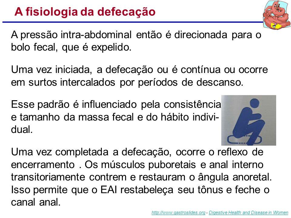 O aumento das pressões resultam em um reflexo coordenado de relaxamento dos EAI e EAE, assim como dos m. puboretais. O relaxamento do m. puboretal, se