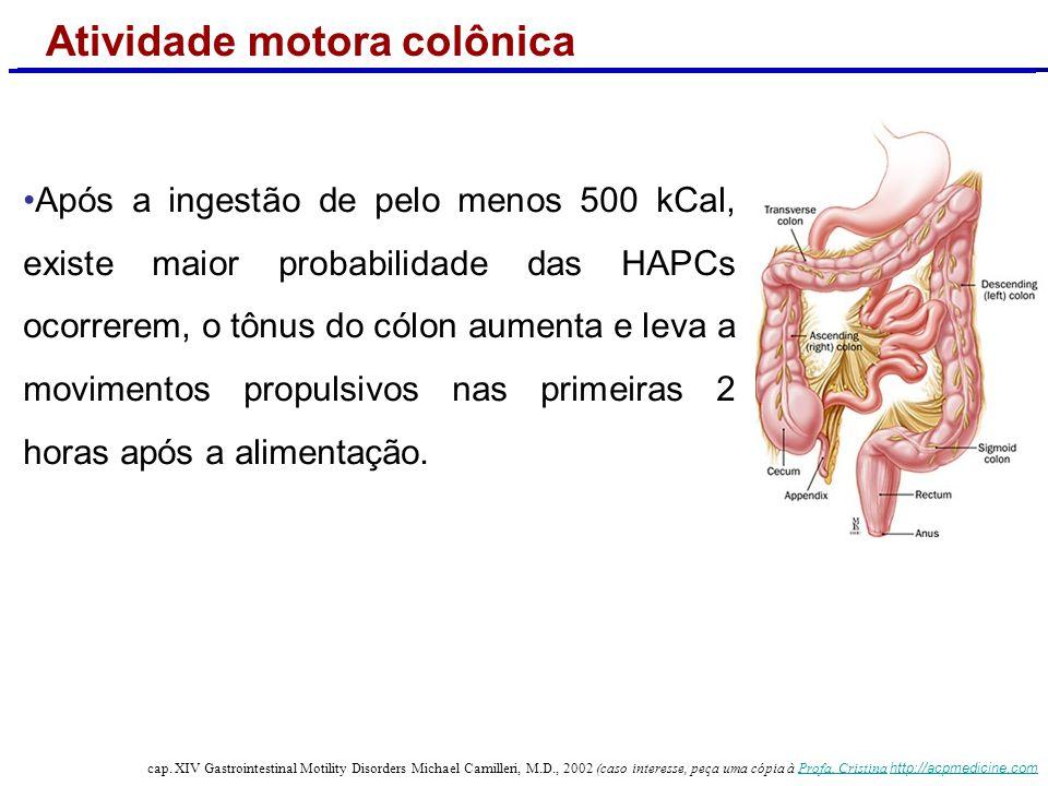 Contrações propagadas Motilidade colônica normal contrações propagadas T: cólon transverso; D: cólon descendente; S: sigmóide; R: reto HAPC: contração