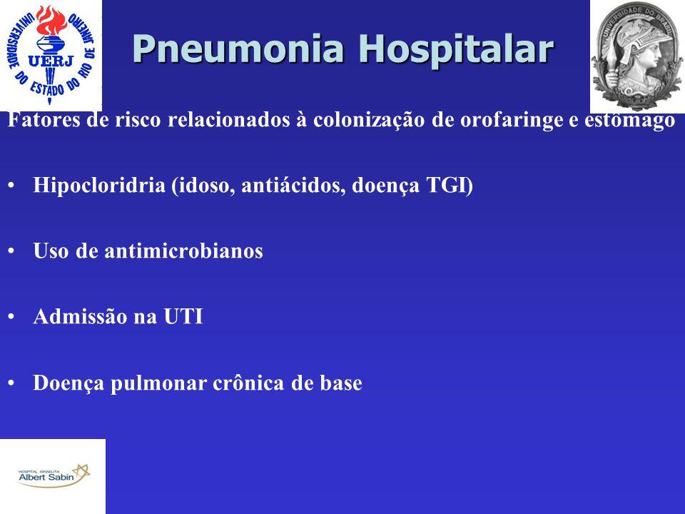 Pneumonia Hospitalar Fatores de risco relacionados à colonização de orofaringe e estômago Hipocloridria (idoso, antiácidos, doença TGI) Uso de antimic