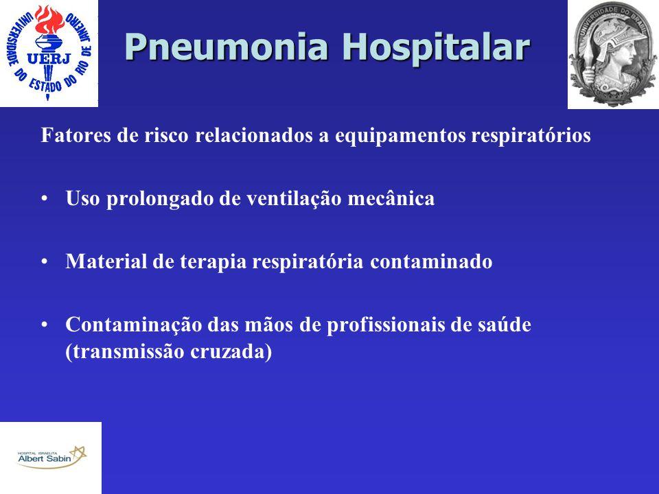 Pneumonia Hospitalar Fatores de risco relacionados a equipamentos respiratórios Uso prolongado de ventilação mecânica Material de terapia respiratória