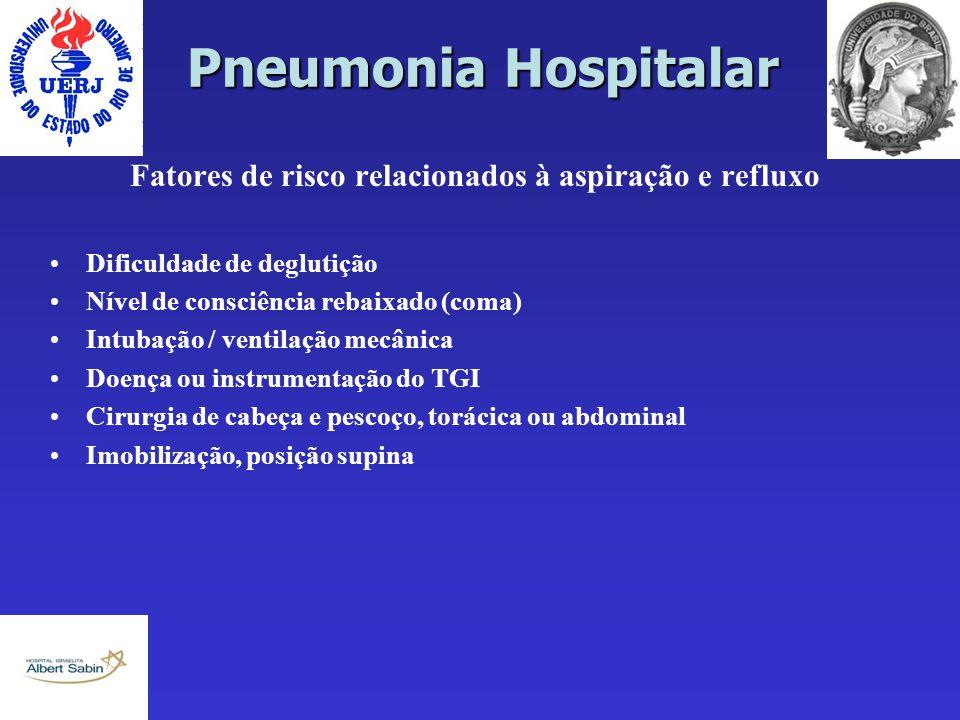 Pneumonia Hospitalar Fatores de risco relacionados à aspiração e refluxo Dificuldade de deglutição Nível de consciência rebaixado (coma) Intubação / v