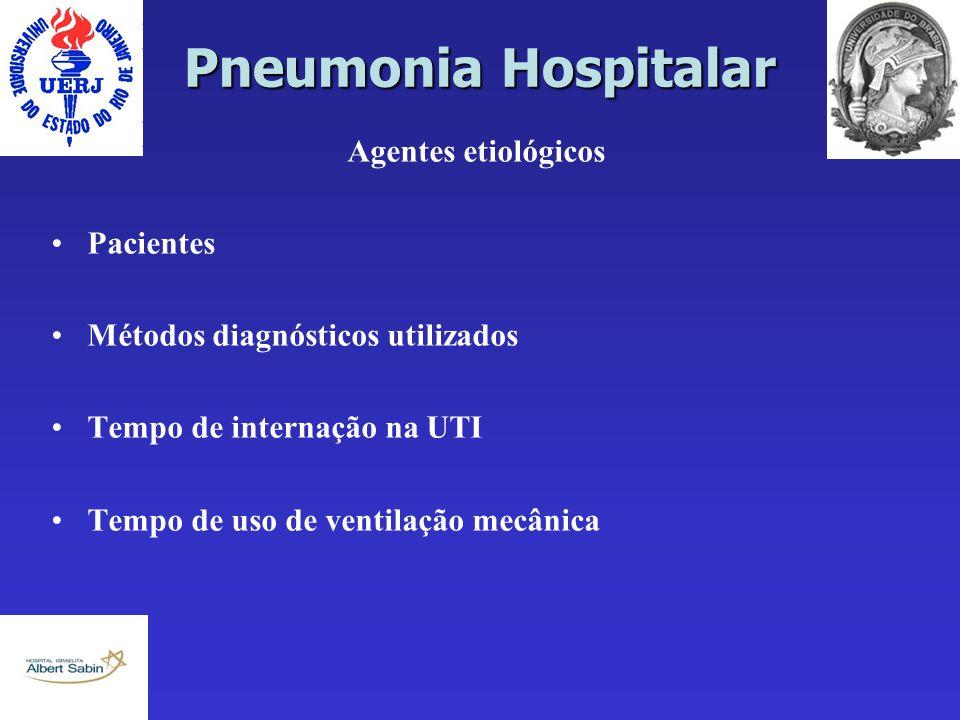Pneumonia Hospitalar Agentes etiológicos Pacientes Métodos diagnósticos utilizados Tempo de internação na UTI Tempo de uso de ventilação mecânica