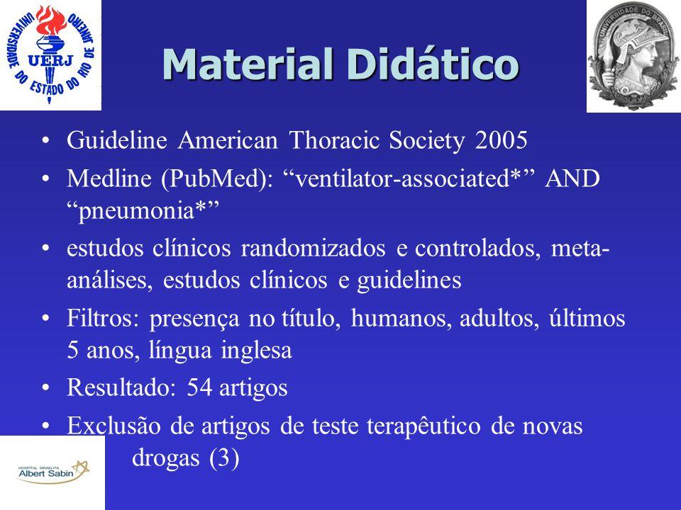 """Material Didático Guideline American Thoracic Society 2005 Medline (PubMed): """"ventilator-associated*"""" AND """"pneumonia*"""" estudos clínicos randomizados e"""