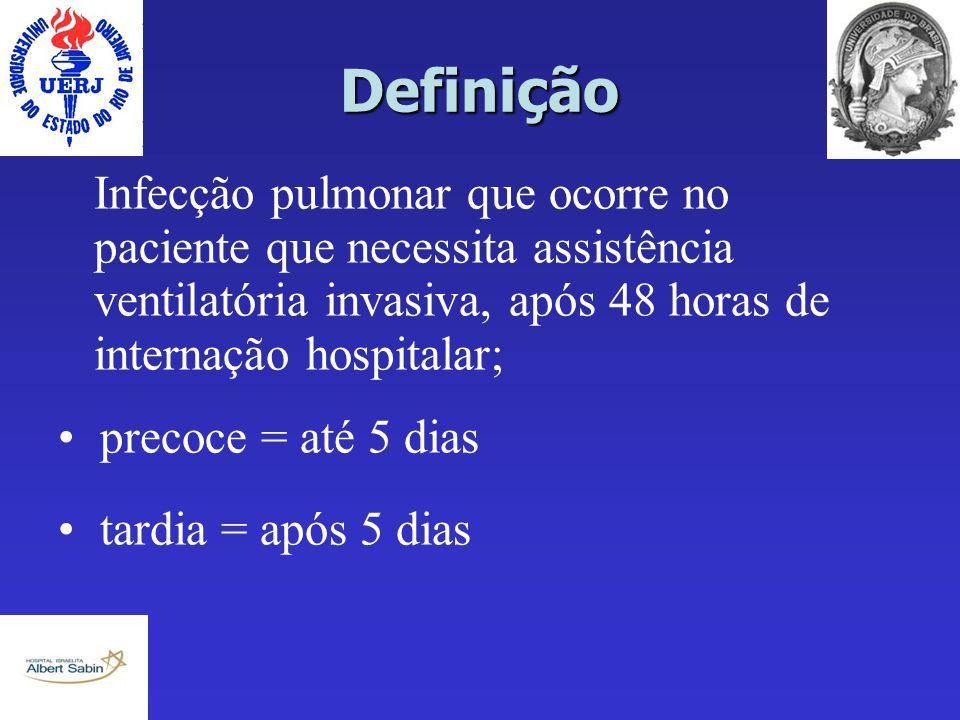 Definição Infecção pulmonar que ocorre no paciente que necessita assistência ventilatória invasiva, após 48 horas de internação hospitalar; precoce =