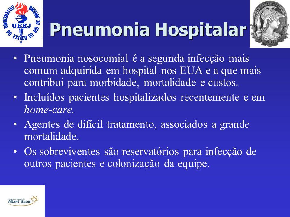 Pneumonia Hospitalar Pneumonia nosocomial é a segunda infecção mais comum adquirida em hospital nos EUA e a que mais contribui para morbidade, mortali