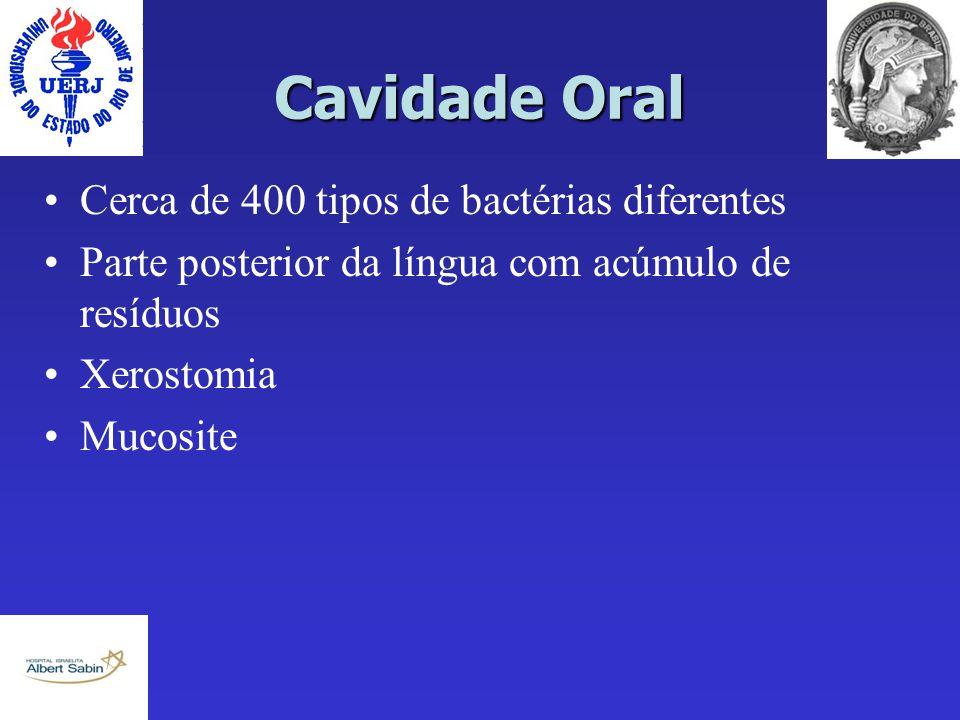 Cavidade Oral Cerca de 400 tipos de bactérias diferentes Parte posterior da língua com acúmulo de resíduos Xerostomia Mucosite