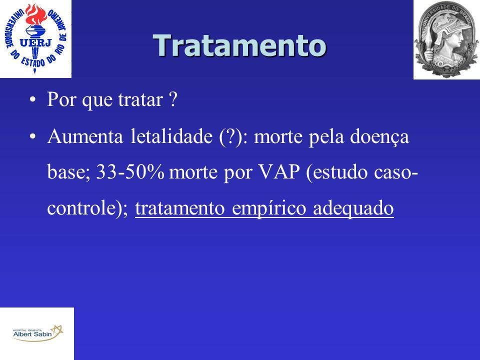 Tratamento Por que tratar ? Aumenta letalidade (?): morte pela doença base; 33-50% morte por VAP (estudo caso- controle); tratamento empírico adequado