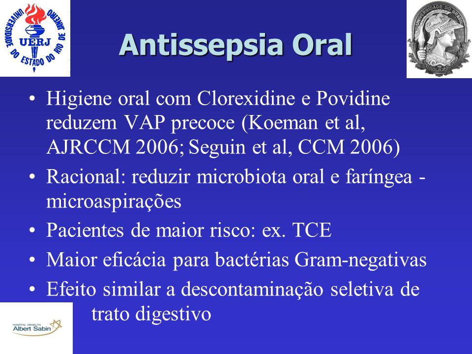 Antissepsia Oral Higiene oral com Clorexidine e Povidine reduzem VAP precoce (Koeman et al, AJRCCM 2006; Seguin et al, CCM 2006) Racional: reduzir mic