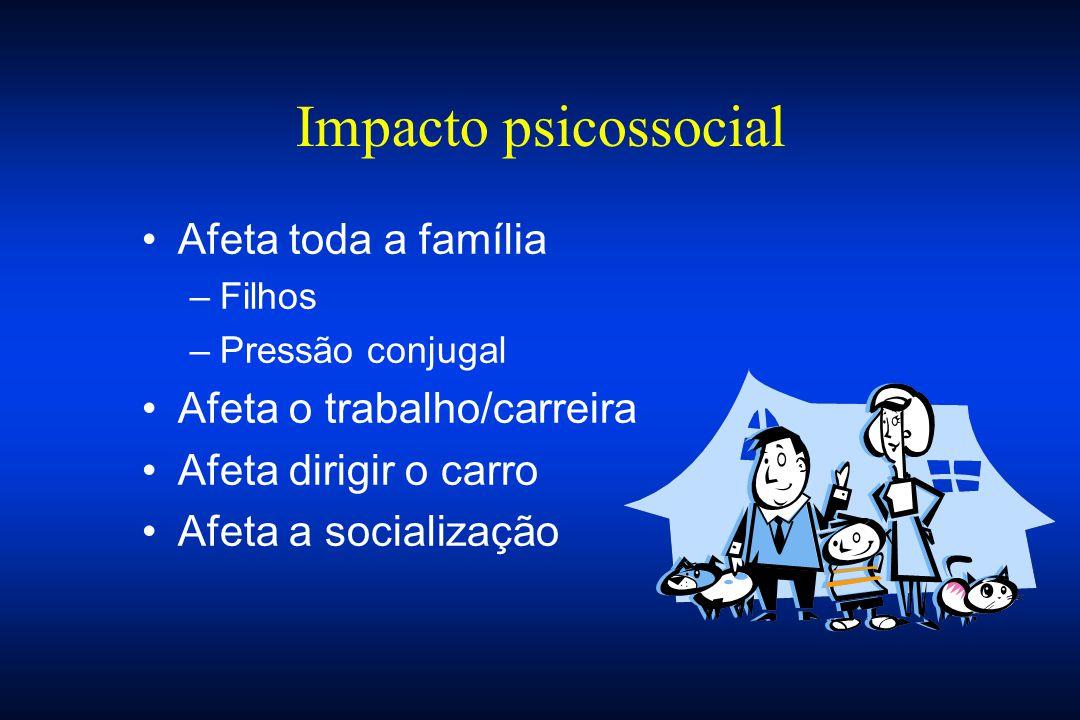 Impacto psicossocial Afeta toda a família –Filhos –Pressão conjugal Afeta o trabalho/carreira Afeta dirigir o carro Afeta a socialização