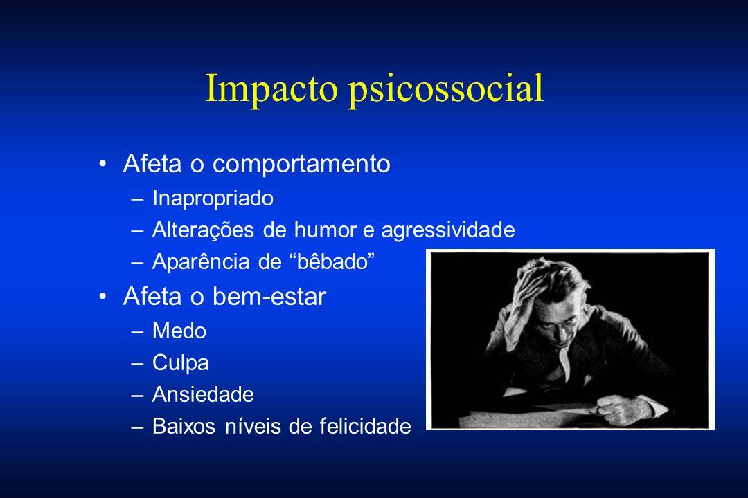 """Impacto psicossocial Afeta o comportamento –Inapropriado –Alterações de humor e agressividade –Aparência de """"bêbado"""" Afeta o bem-estar –Medo –Culpa –A"""