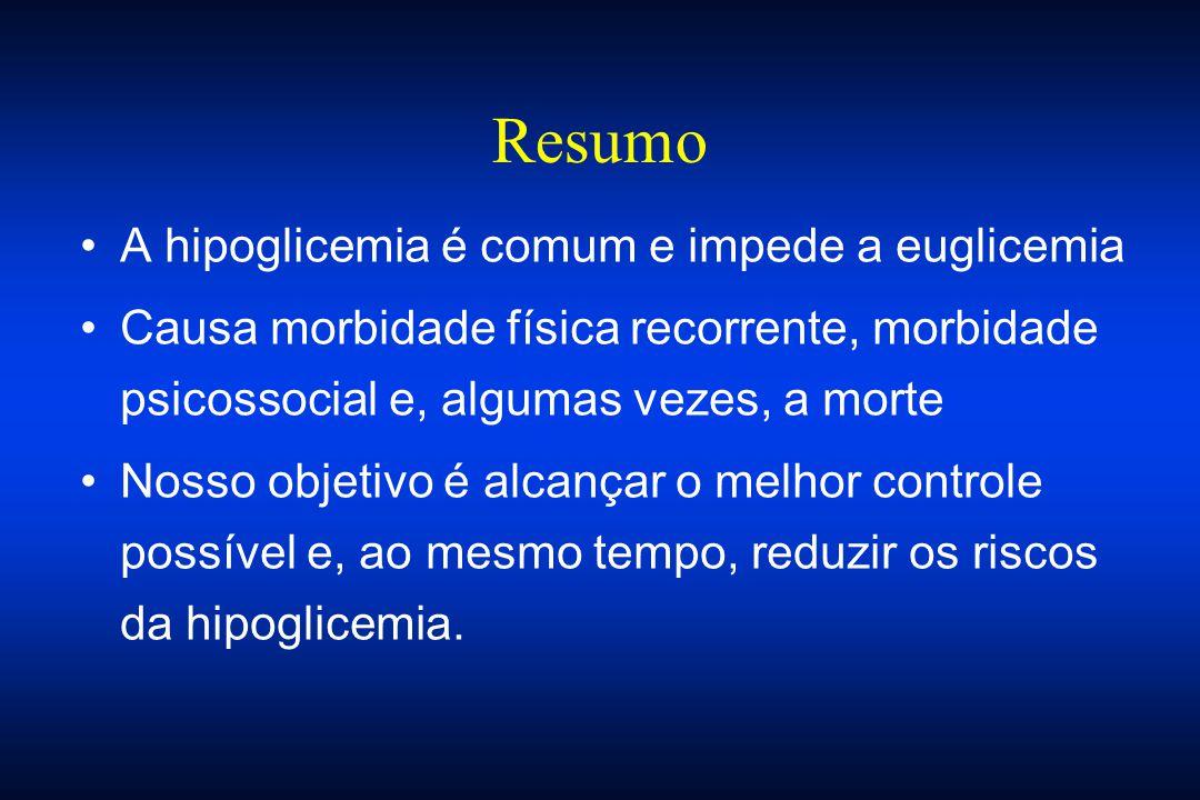 Resumo A hipoglicemia é comum e impede a euglicemia Causa morbidade física recorrente, morbidade psicossocial e, algumas vezes, a morte Nosso objetivo