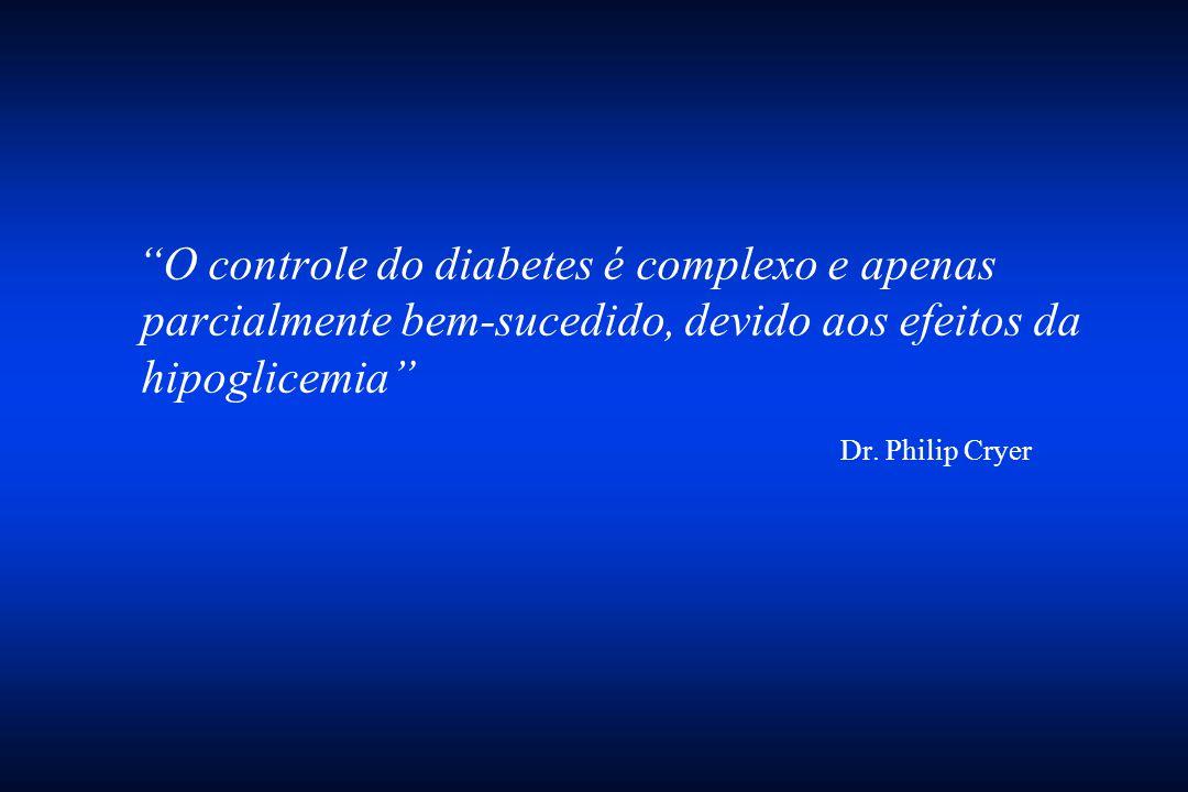 """""""O controle do diabetes é complexo e apenas parcialmente bem-sucedido, devido aos efeitos da hipoglicemia"""" Dr. Philip Cryer"""
