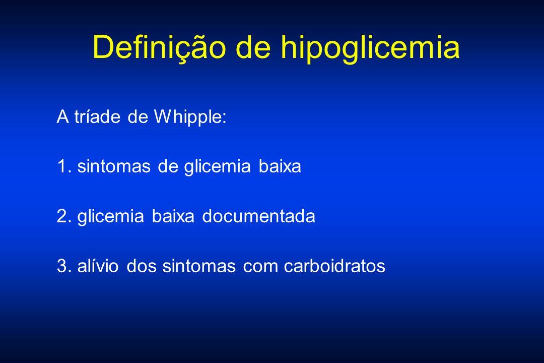 Definição de hipoglicemia A tríade de Whipple: 1. sintomas de glicemia baixa 2. glicemia baixa documentada 3. alívio dos sintomas com carboidratos