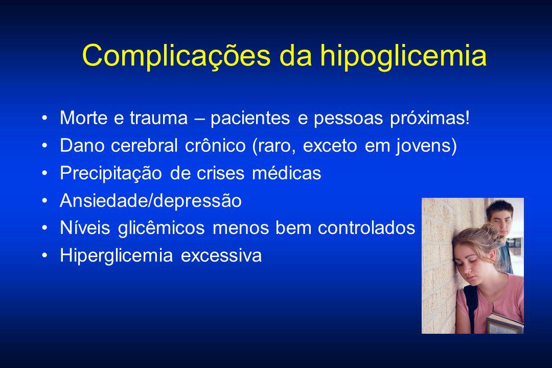 Complicações da hipoglicemia Morte e trauma – pacientes e pessoas próximas! Dano cerebral crônico (raro, exceto em jovens) Precipitação de crises médi