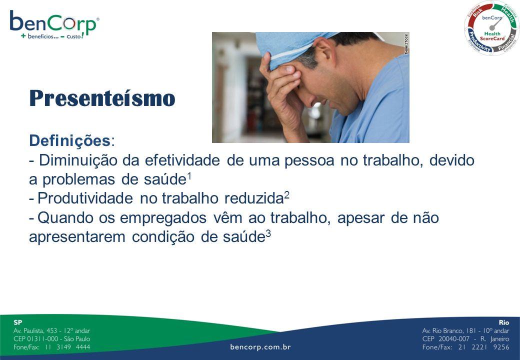 Presenteísmo Definições: - Diminuição da efetividade de uma pessoa no trabalho, devido a problemas de saúde 1 - Produtividade no trabalho reduzida 2 -