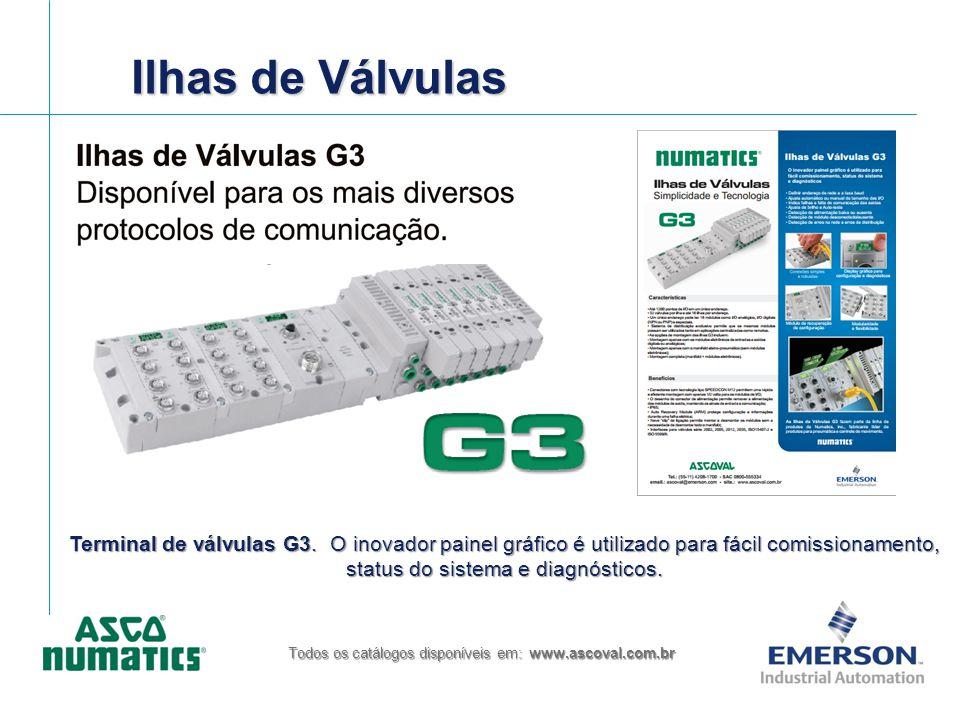 Ilhas de Válvulas Todos os catálogos disponíveis em: www.ascoval.com.br Terminal de válvulas G3. O inovador painel gráfico é utilizado para fácil comi
