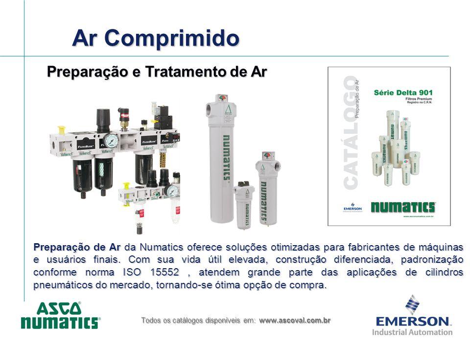 Ar Comprimido Todos os catálogos disponíveis em: www.ascoval.com.br Preparação de Ar da Numatics oferece soluções otimizadas para fabricantes de máqui