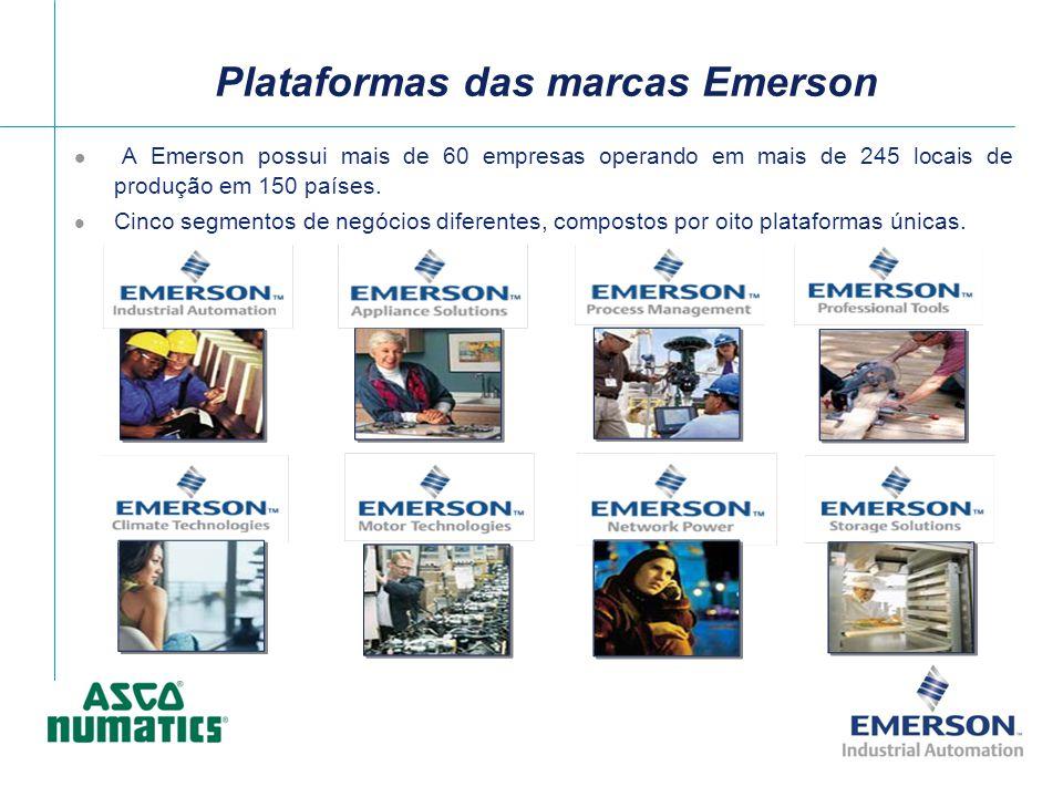 Plataformas das marcas Emerson A Emerson possui mais de 60 empresas operando em mais de 245 locais de produção em 150 países. Cinco segmentos de negóc