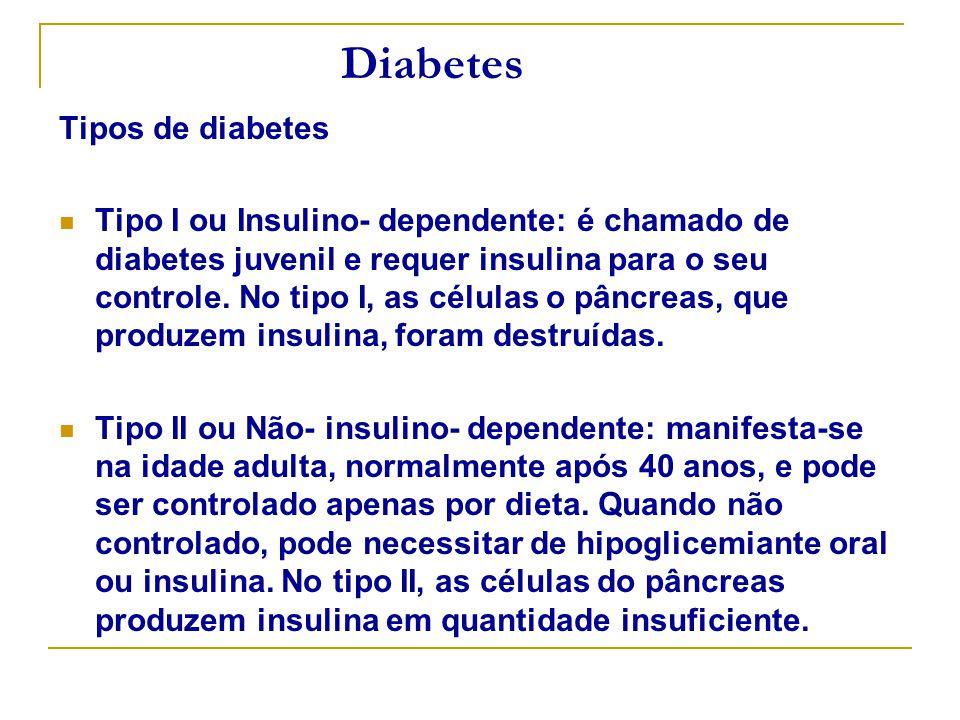 Diabetes Tipos de diabetes Tipo I ou Insulino- dependente: é chamado de diabetes juvenil e requer insulina para o seu controle. No tipo I, as células