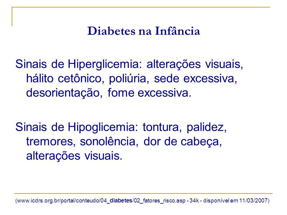 Diabetes na Infância Sinais de Hiperglicemia: alterações visuais, hálito cetônico, poliúria, sede excessiva, desorientação, fome excessiva. Sinais de