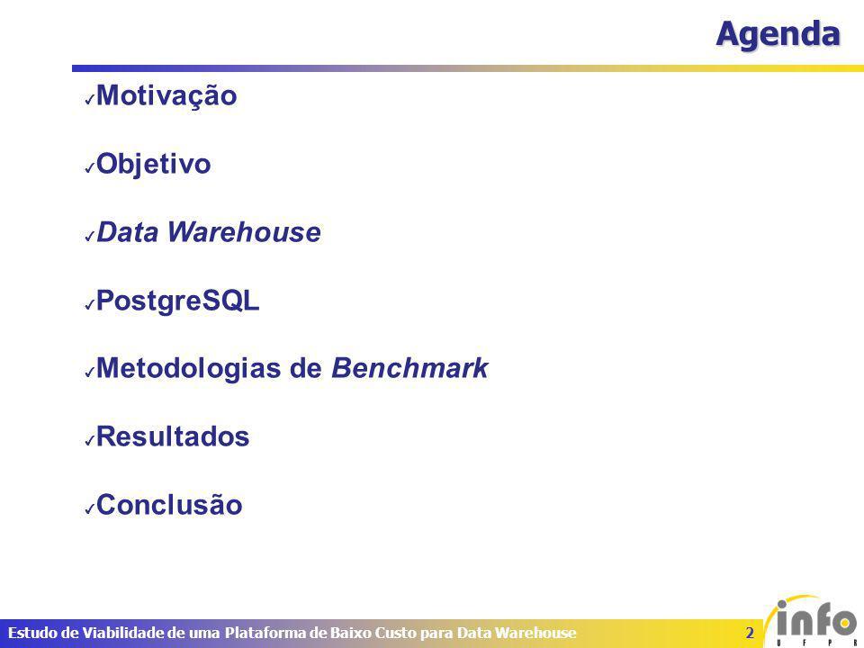 2Estudo de Viabilidade de uma Plataforma de Baixo Custo para Data Warehouse Agenda ✔ Motivação ✔ Objetivo ✔ Data Warehouse ✔ PostgreSQL ✔ Metodologias de Benchmark ✔ Resultados ✔ Conclusão