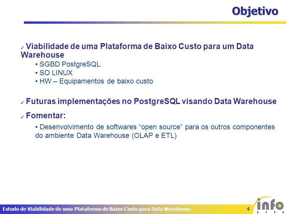 5Estudo de Viabilidade de uma Plataforma de Baixo Custo para Data Warehouse Data Warehouse Conceito DW é um grande repositório de dados coletados de diversas fontes que destina-se a gerar informações para o nível gerencial sendo fonte para tomadas de decisão.