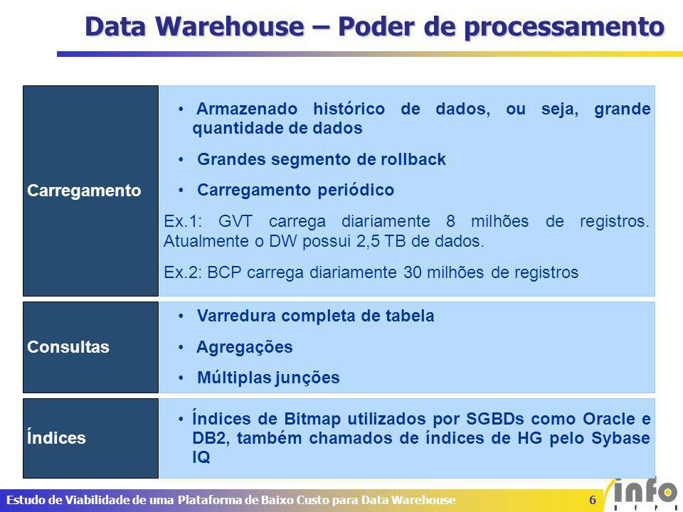 17Estudo de Viabilidade de uma Plataforma de Baixo Custo para Data Warehouse Resultados – TPC-H e DBT3 Plano de execução PostgreSQL gerou planos de execução ruins sendo necessário a reescrita das consultas.