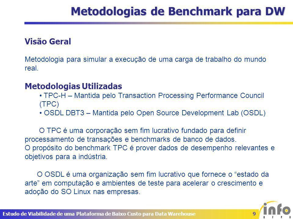 20Estudo de Viabilidade de uma Plataforma de Baixo Custo para Data Warehouse Resultados – DBT3