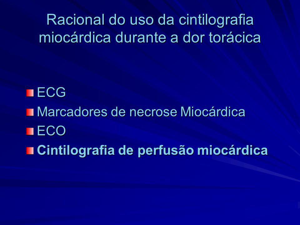 Racional do uso da cintilografia miocárdica durante a dor torácica ECG Marcadores de necrose Miocárdica ECO Cintilografia de perfusão miocárdica