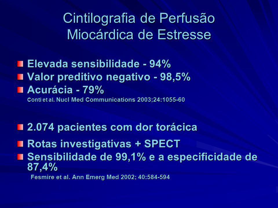 Cintilografia de Perfusão Miocárdica de Estresse Elevada sensibilidade - 94% Valor preditivo negativo - 98,5% Acurácia - 79% Conti et al. Nucl Med Com