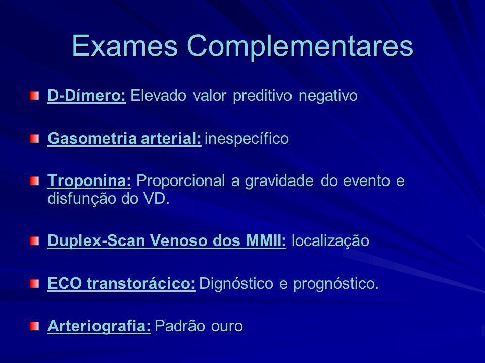 Exames Complementares D-Dímero: Elevado valor preditivo negativo Gasometria arterial: inespecífico Troponina: Proporcional a gravidade do evento e dis
