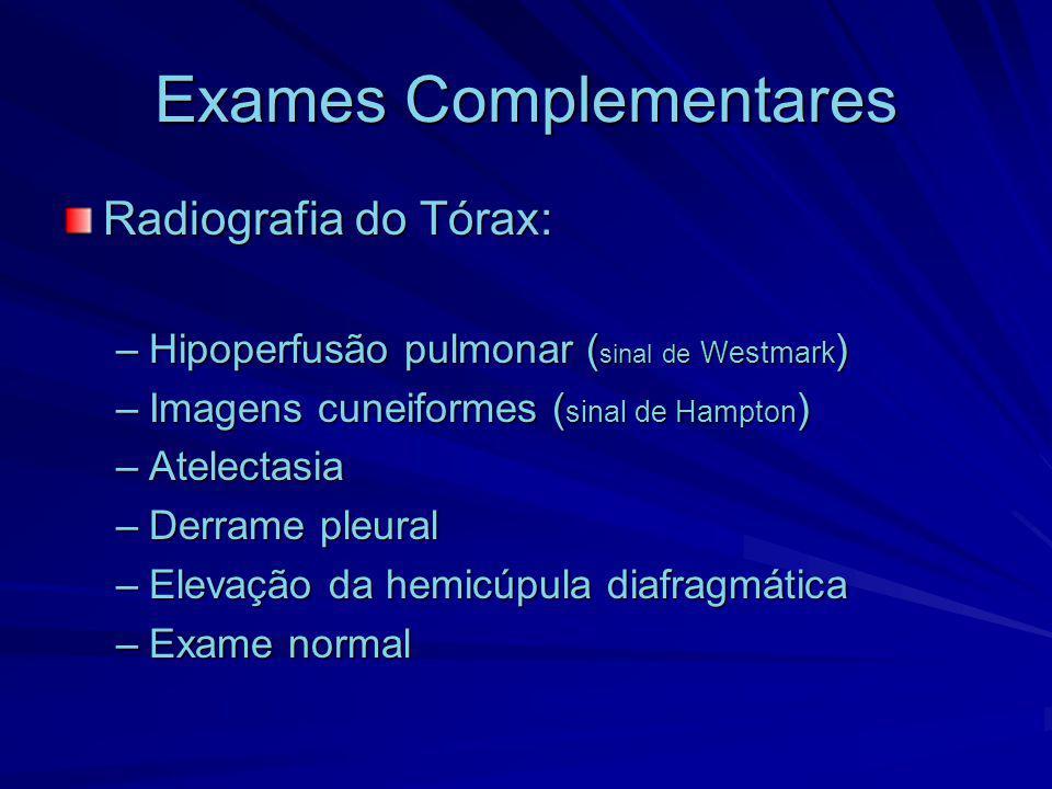 Exames Complementares Radiografia do Tórax: –Hipoperfusão pulmonar ( sinal de Westmark ) –Imagens cuneiformes ( sinal de Hampton ) –Atelectasia –Derra