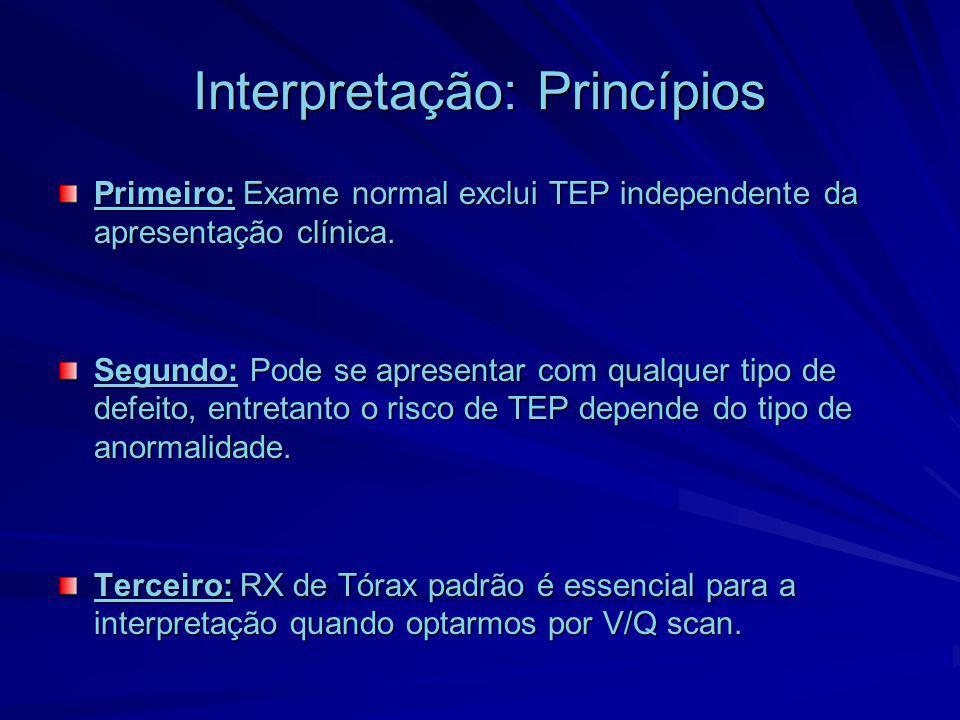 Interpretação: Princípios Primeiro: Exame normal exclui TEP independente da apresentação clínica. Segundo: Pode se apresentar com qualquer tipo de def
