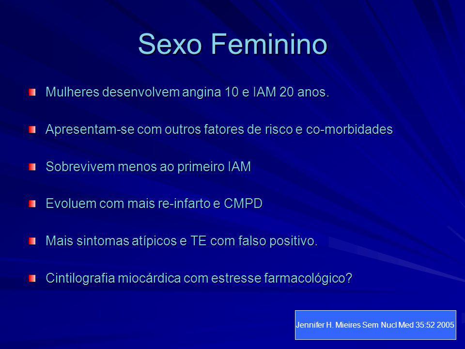 Sexo Feminino Mulheres desenvolvem angina 10 e IAM 20 anos. Apresentam-se com outros fatores de risco e co-morbidades Sobrevivem menos ao primeiro IAM