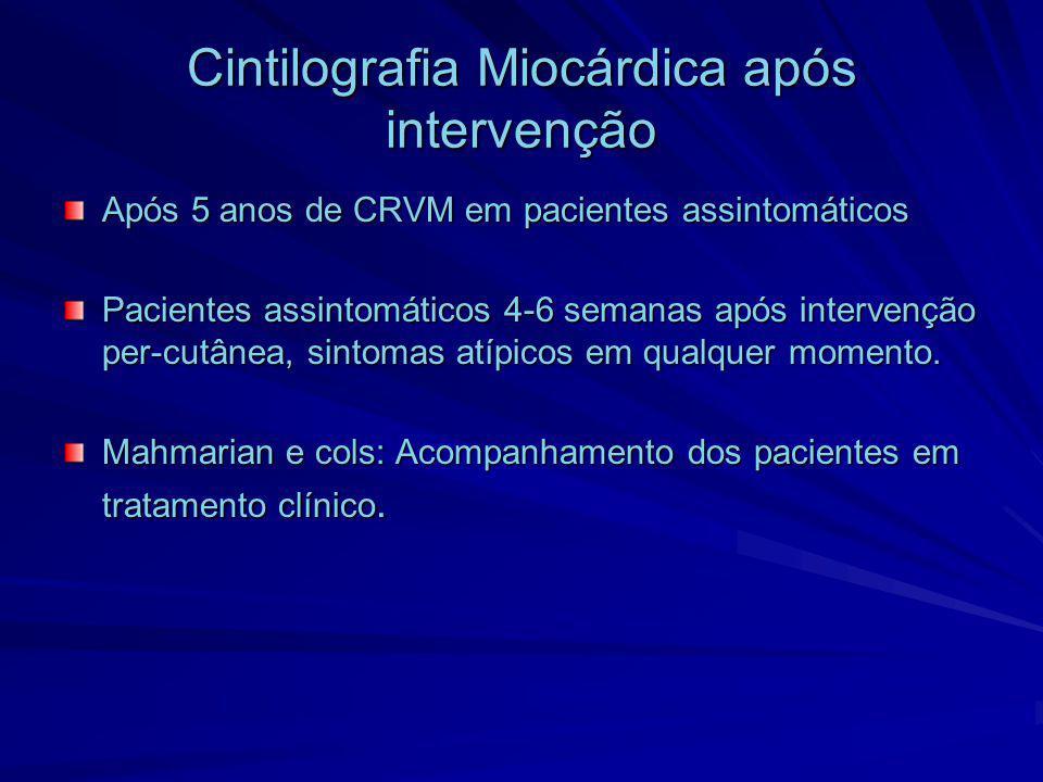 Cintilografia Miocárdica após intervenção Após 5 anos de CRVM em pacientes assintomáticos Pacientes assintomáticos 4-6 semanas após intervenção per-cu