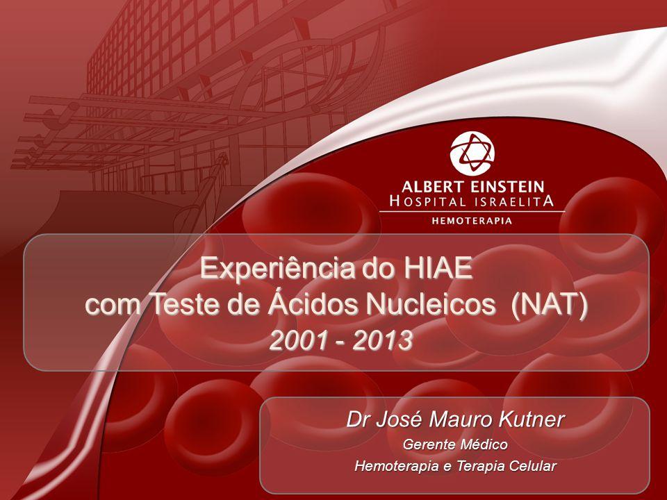 Experiência do HIAE com Teste de Ácidos Nucleicos (NAT) 2001 - 2013 Dr José Mauro Kutner Gerente Médico Hemoterapia e Terapia Celular