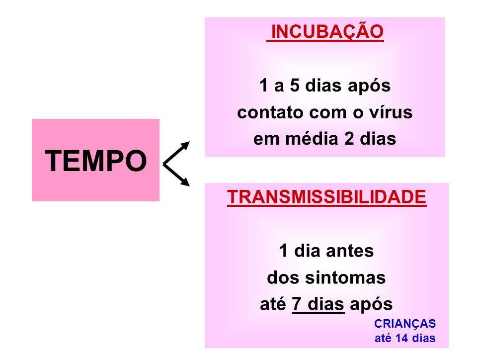 INCUBAÇÃO 1 a 5 dias após contato com o vírus em média 2 dias TRANSMISSIBILIDADE 1 dia antes dos sintomas até 7 dias após TEMPO CRIANÇAS até 14 dias