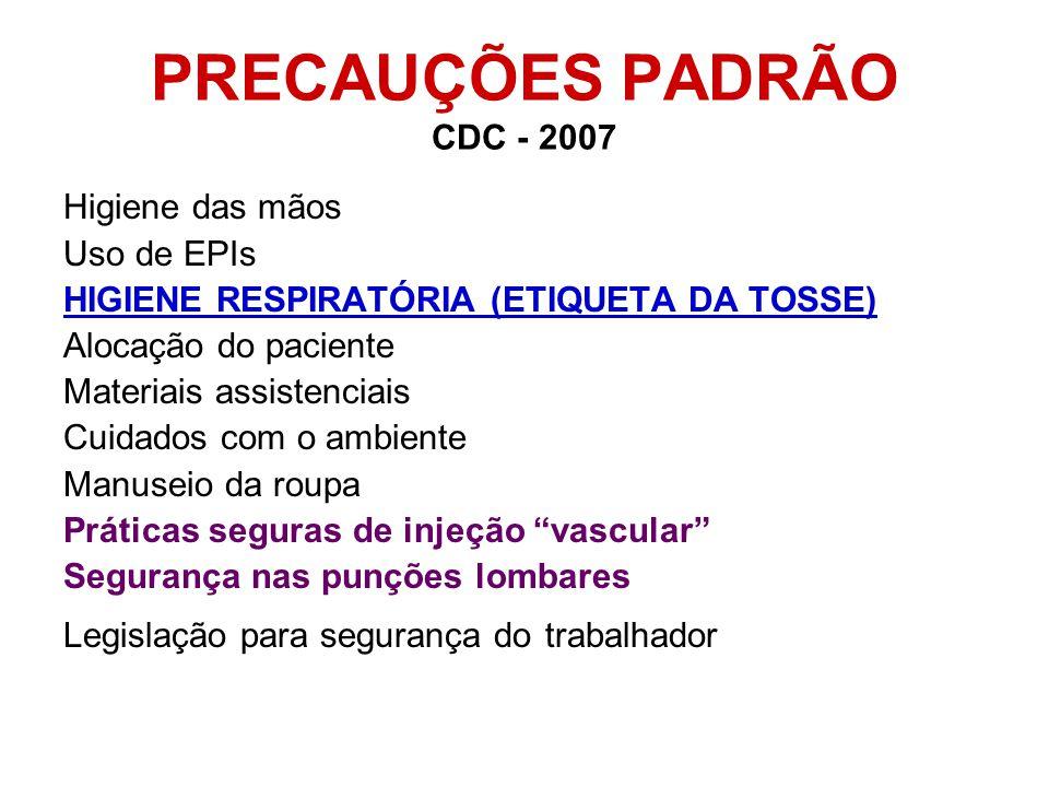Higiene das mãos Uso de EPIs HIGIENE RESPIRATÓRIA (ETIQUETA DA TOSSE) Alocação do paciente Materiais assistenciais Cuidados com o ambiente Manuseio da roupa Práticas seguras de injeção vascular Segurança nas punções lombares Legislação para segurança do trabalhador PRECAUÇÕES PADRÃO CDC - 2007