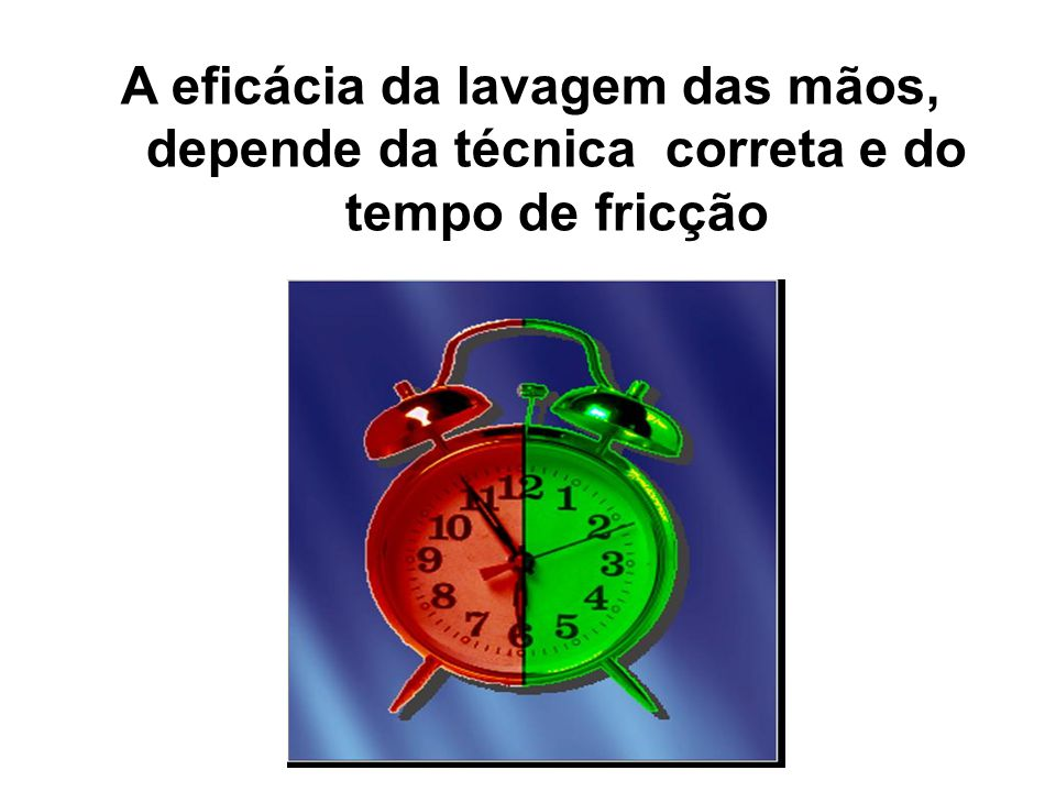 A eficácia da lavagem das mãos, depende da técnica correta e do tempo de fricção