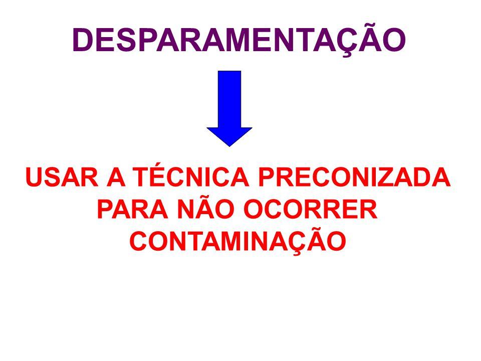 DESPARAMENTAÇÃO USAR A TÉCNICA PRECONIZADA PARA NÃO OCORRER CONTAMINAÇÃO
