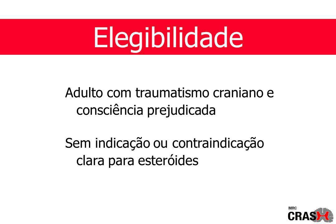 Elegibilidade Adulto com traumatismo craniano e consciência prejudicada Sem indicação ou contraindicação clara para esteróides