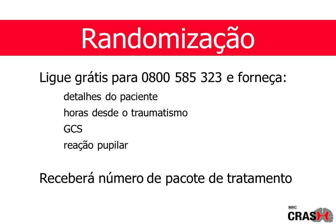 Randomização Ligue grátis para 0800 585 323 e forneça: detalhes do paciente horas desde o traumatismo GCS reação pupilar Receberá número de pacote de tratamento