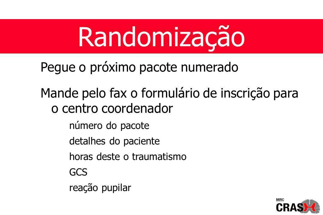 Randomização Pegue o próximo pacote numerado Mande pelo fax o formulário de inscrição para o centro coordenador número do pacote detalhes do paciente horas deste o traumatismo GCS reação pupilar