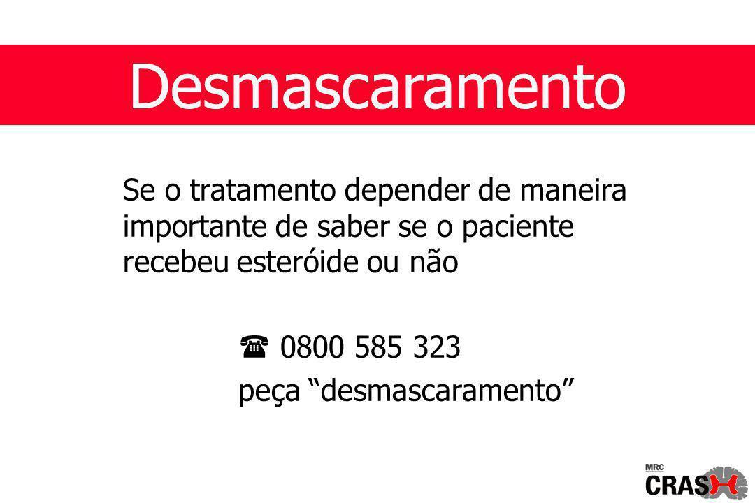 Desmascaramento Se o tratamento depender de maneira importante de saber se o paciente recebeu esteróide ou não  0800 585 323 peça desmascaramento