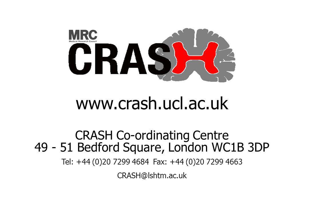 CRASH Co-ordinating Centre 49 - 51 Bedford Square, London WC1B 3DP Tel: +44 (0)20 7299 4684Fax: +44 (0)20 7299 4663 CRASH@lshtm.ac.uk www.crash.ucl.ac.uk